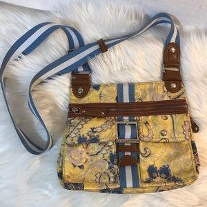 Tyler Rosen crossbody yellow paisley zippered bag
